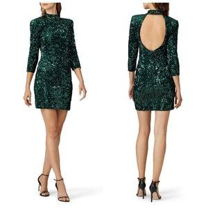 Donna Morgan greenSequin Open Back Mini Dress